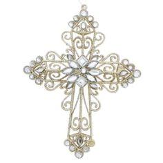 Glass Mirror Cross Ornament