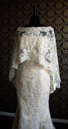 95db8397ae32 Luxury Long Bridal Caplet Beaded Lace Cape Boat by I heart Bride Svadobné  Šaty