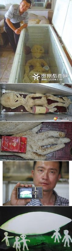 "2013 Binzhou Shangdong province, China. ""Police say crude 'extraterrestrial' was made of high quality rubber."""