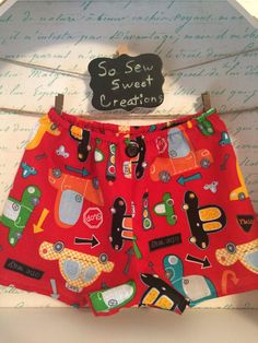 Colorful Cars Baby Boy Shorts/Diaper Cover, size 12-28M, cars, stop signs,  arrows and street lights on these toddler diaper covers. by SoSewSweetCreations on Etsy