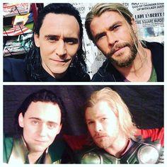 "Tom Hiddleston and Chris Hemsworth on the set of ""Thor: Ragnarok"" & ""Thor"""
