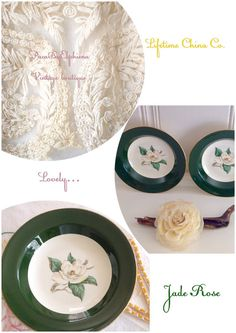 Jade Rose bowls from Lifetime China co. by PucaByElphiena on Etsy