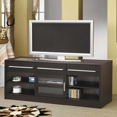 Wonderful Pictures of contemporary Tv Stands for Plasma Tv Design: Excellent Style LCD Plasma TV Stand Console With Dark Wooden Storage Shelves And Cozy Gray Rug Decorative Ideas ~ shokoa.com Decoration Inspiration