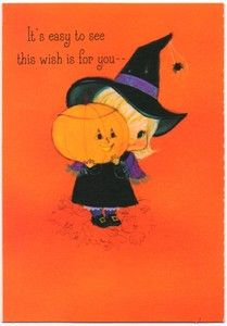Vintage Greeting Card Secret Pal Halloween Cute Witch