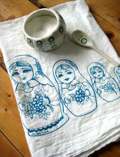 Tea Towel - Screen Printed Organic Cotton Nesting Dolls Flour Sack Towel - Soft and Absorbent - Awesome Kitchen towel
