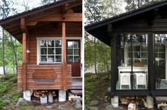 I like the almost black colour. Log Homes Exterior, Cottage Exterior, Small Log Cabin, Tiny Cabins, Cottage Plan, Cottage Style, Scandinavian Cottage, Forest Cottage, Summer Cabins
