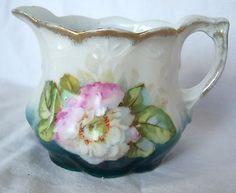 Vintage-Art-Nouveau-Porcelain-Creamer-White-Blue-Pink-Wild-Rose-Flower-Gold-Trim