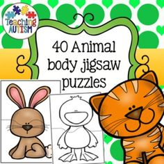 Animal Matching Jigsaws  This download includes 40 different animal matching jigsaws. Students have to match one half of an animal to the other half, a great way to see if they are able to notice different parts of animals.  Comes in col and b/w option for your preference.  Instructions included on first page. Just cut out each jigsaw puzzle individually and then follow the jigsaw lines to cut the animals in half. I recommend laminating them so that they are stronger and longer lasting.