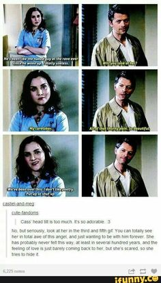 Meg + Cass = way better than Destiel 😙☕ << I shipped them for a while until. Well until she died. But Destiel will last forever! Misha Collins, Jared Padalecki, Jensen Ackles, Chris Evans, Emmanuelle Vaugier, Winchester Boys, Winchester Brothers, Supernatural Memes, Supernatural Wallpaper