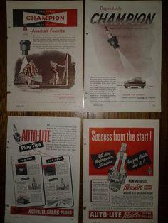 4 Vintage 1949 & 1947 Original Spark Plugs Print Ads 2 Auto-Lite & 2 Champion