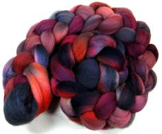 Black Mulberry 2 Falkland wool top for spinning and by yarnwench, $15.00