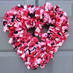 Valentine's Day Red Heart Fabric Wreath by KristinCraftsALot Valentine Crafts, Valentines, Deco Mesh Wreaths, Rag Wreaths, Different Types Of Fabric, Fabric Wreath, How To Make Wreaths, 4th Of July Wreath, Garland