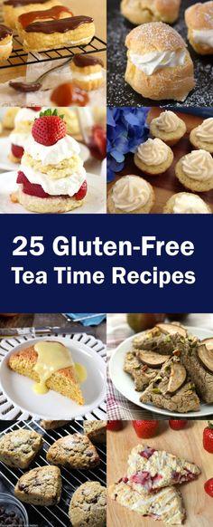 25 Gluten-Free Tea Time Recipes Only Taste Matters Gluten Free Deserts, Best Gluten Free Recipes, Gluten Free Sweets, Foods With Gluten, Gluten Free Baking, Gluten Free Party Food, Gluten Free Scones, Healthy Afternoon Snacks, Tea Time Snacks