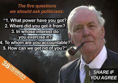 Tony Benn's 5 questions