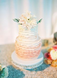 Ombre Wedding Cake | See the wedding on SMP: http://www.StyleMePretty.com/2014/03/10/peach-inspired-farm-wedding-at-carneros-inn/ Jen Huang Photography
