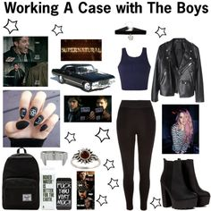 Working A Case with The Boys (Supernatural-Sam and Dean Winchester) / Sky Ferreira Supernatural Inspired Outfits, Supernatural Fashion, Supernatural Sam, Movie Inspired Outfits, Themed Outfits, Runners Outfit, Badass Outfit, Fandom Outfits, Teenager Outfits