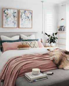 Home Decoration Ideas: A chic modern bedroom with a white, grey, and blush pink color scheme. The faux fur throw adds a touch of glamour to this contemporary girly room - Unique Bedroom Ideas & Decor. Dream Bedroom, Home Bedroom, Target Bedroom, Bedroom Artwork, Pretty Bedroom, Artwork Above Bed, Target Bedding, Bedroom Images, Framed Artwork