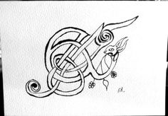 Celtic Rabbit Ampersand Note Card Book of Kells by FHarrisArtShop Book Of Kells, Card Book, Latin Words, Letter E, Illuminated Letters, Middle Ages, Note Cards, Celtic, Original Artwork