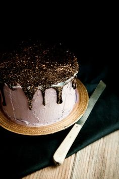 "Desserts for Breakfast: Oreo Olallieberry Chocolate Layer Cake, or ""Oo-- cake!"" or as I like to call it, ""Glitter Cake! Food Cakes, Cupcake Cakes, Party Desserts, Just Desserts, Chocolates, Glitter Cake, Edible Glitter, Glitter Frosting, Sparkly Cake"