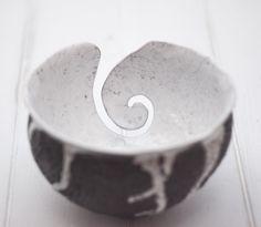 Hand Made Pottery Yarn Bowl, Stoneware Yarn Bowl, Knitting Bowl, Ready to Ship, Raku