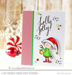 Wanda Guess: A Blog Called Wanda - Have a Holly Jolly Christmas....Elf! I'm an MFT Guest Designer today! - 10/28/2015.  (MFT Birdie Brown stamps/dies: Santa's Elves; Hand Lettered Holiday stamps).