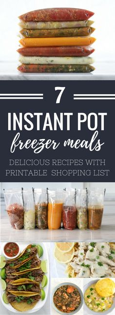 You will love these 7 Healthy Instant Pot Freezer Meals that you can make in 2 to 3 hours. Recipes included are Shredded Beef Fajitas, Country Lemon Chicken, Sausage & Spinach soup, Light Chicken Pot Chicken Freezer Meals, Budget Freezer Meals, Healthy Freezer Meals, Dump Meals, Easy Healthy Recipes, Easy Dinners, Freezer Soups, Frugal Meals, Delicious Recipes