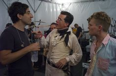 Stephen Colbert backstage at StePhest Colbchella '012 with members of indie band 'Grizzly Bear'.