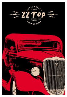 Gig posters, flyers and handbills from around the world! Zz Top, Tour Posters, Band Posters, Rock Roll, Heavy Metal, Concert Rock, Vintage Concert Posters, Blues Rock, Illustrations