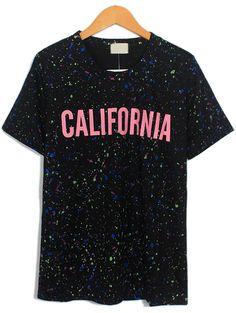 Black Short Sleeve CALIFORNIA Print T-Shirt US$17.71