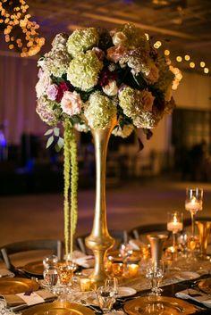#wedding #reception #centerpiece #pink #purple #white #green #hydrangea #love #rose