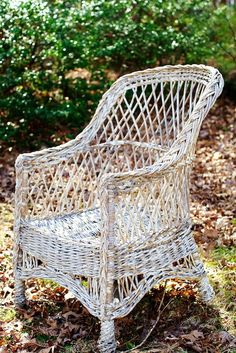 Shabby chic wicker chair