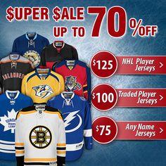 Even Lower Prices! $125 NHL Player Jerseys - $100 Traded Player Jerseys - $75 Any Name Jerseys. Washington Capitals | Tampa Bay Lightning | Toronto Maple Leafs | Nashville Predators | Florida Panthers | Pittsburgh Penguins | Ottawa Senators | New York Islanders | Winnipeg Jets | Etc.