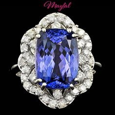 $12300 CERTIFIED 14K WHITE GOLD 6.50CT TANZANITE 0.80CT DIAMOND RING #SolitairewithAccents