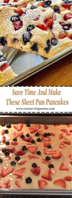 Save Time And Make These Sheet Pan Pancakes - Cuisine Village Menu Healthy Breakfast Recipes, Brunch Recipes, Gourmet Recipes, Dessert Recipes, Cooking Recipes, Healthy Recipes, Budget Recipes, Easy Recipes, Cheap Clean Eating