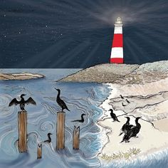 Hand Illustration, Biodegradable Products, Iridescent, Lighthouse, Recycling, Wildlife, Greeting Cards, Prints, Painting