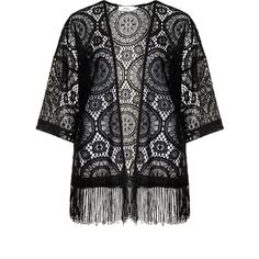 Zizzi Black Plus Size Lace kimono jacket ($60) ❤ liked on Polyvore featuring outerwear, jackets, kimono, black, plus size, black lace jacket, summer jacket, black jacket, straight jacket and sheer kimono jacket