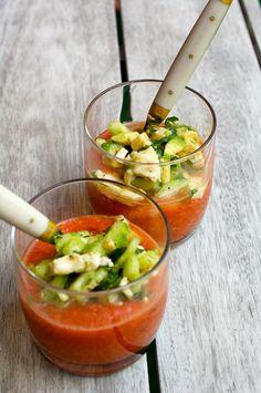 Meine Lieblings Gazpacho mit Honigmelone und Birne Rezept / Recipe in German