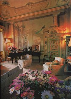 The grand salon at Villa la Rose at the time of the Boissevains. Photo by Robert Emmett Bright.