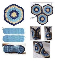 Crochet Granny Square Ideas African Flowers 47 New Ideas Diy Crochet Slippers, Crochet Diy, Crochet Boots, Crochet Motifs, Love Crochet, Crochet Crafts, Crochet Clothes, Crochet Projects, Crochet Patterns