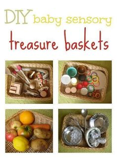 Great ideas for DIY baby/toddler sensory treasure baskets you can put together in minutes, using things you have around the home. Montessori Baby, Montessori Activities, Baby Room Activities, Infant Activities, Baby Sensory Play, Baby Play, Baby Toys, Baby Treasure Basket, Heuristic Play