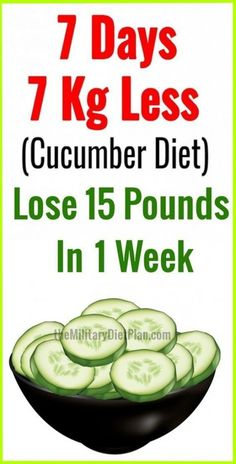 Cucumber Diet Help You Lose 15 Pounds. Cucumbers is a essential food to any healthy diet. Consuming cucumbers weekly are too great for cleaning your gastrointestinal tract, and they can stimulate your metabolism. Diet Food To Lose Weight, Weight Loss Meals, Weight Loss Drinks, Losing Weight Tips, Fast Weight Loss, Weight Loss Tips, How To Lose Weight Fast, Weight Gain, Lose Weight In A Week