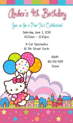 Hello Kitty Party Invitation Sample Birthday Invitations Theme