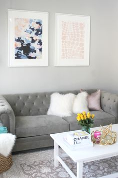 How to Mix and Match Artwork with Minted II Grey Tufted Couch II Coffee Table Books II - September 28 2019 at Living Room Art, Living Room Designs, Living Room Furniture, Home Furniture, Living Spaces, Tufted Couch, Living Room Inspiration, Home Decor Inspiration, Decor Ideas