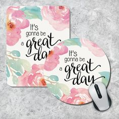 Quote Mousepad Great Day Mouse Pad Watercolor by MousePadCenter