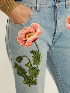 Gucci Flower-embroidered straight-leg jeans