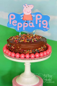 Check out this cake at a Peppa Pig birthday party! See more party ideas at CatchMyParty.com!