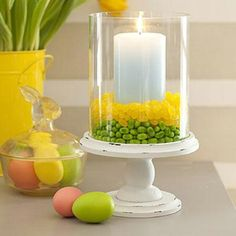 Easter Candle Display with jelly beans - 80 Fabulous Easter Decorations You Can Make Yourself.