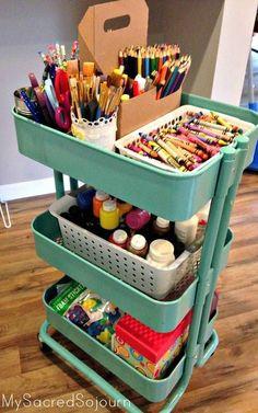 Art Supplies Storage, Organizing Art Supplies, Storage Ideas, Office Supplies, Art Caddy, Craft Room Design, Study Room Decor, Ideas Para Organizar, Toy Rooms
