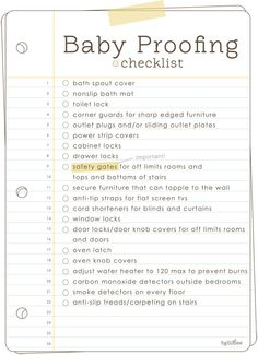 Baby Proofing Checklist | Mom & Baby 101