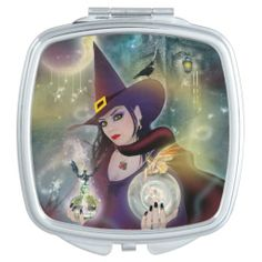 Pretty Magical Witch Compact Mirror. #Witch #Magical #CompactMirror #Witchgift #Magic
